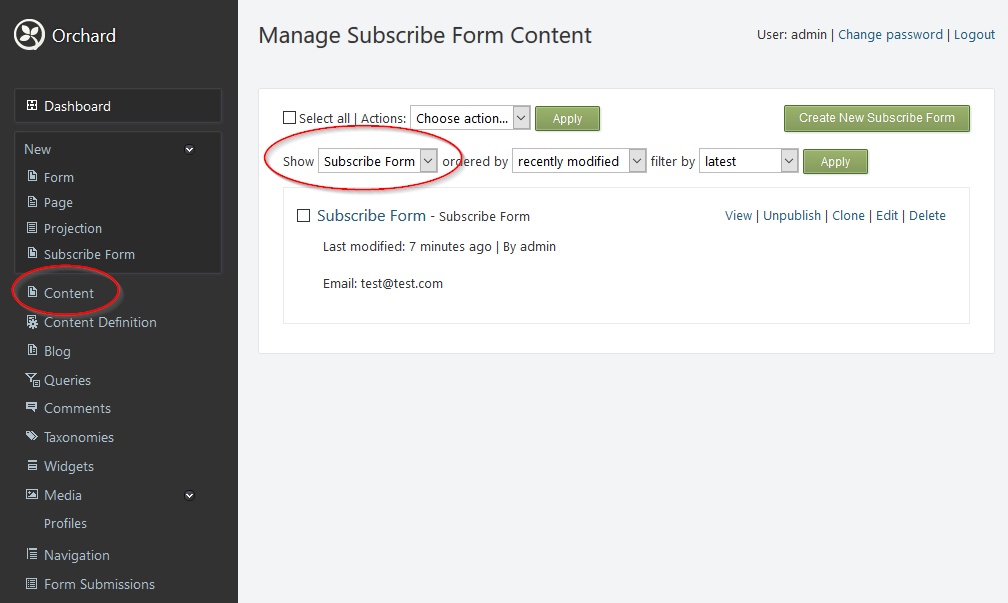 Subscribe Form Content Type